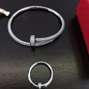 White Gold Juste un Clou Nail Bracelet and Ring